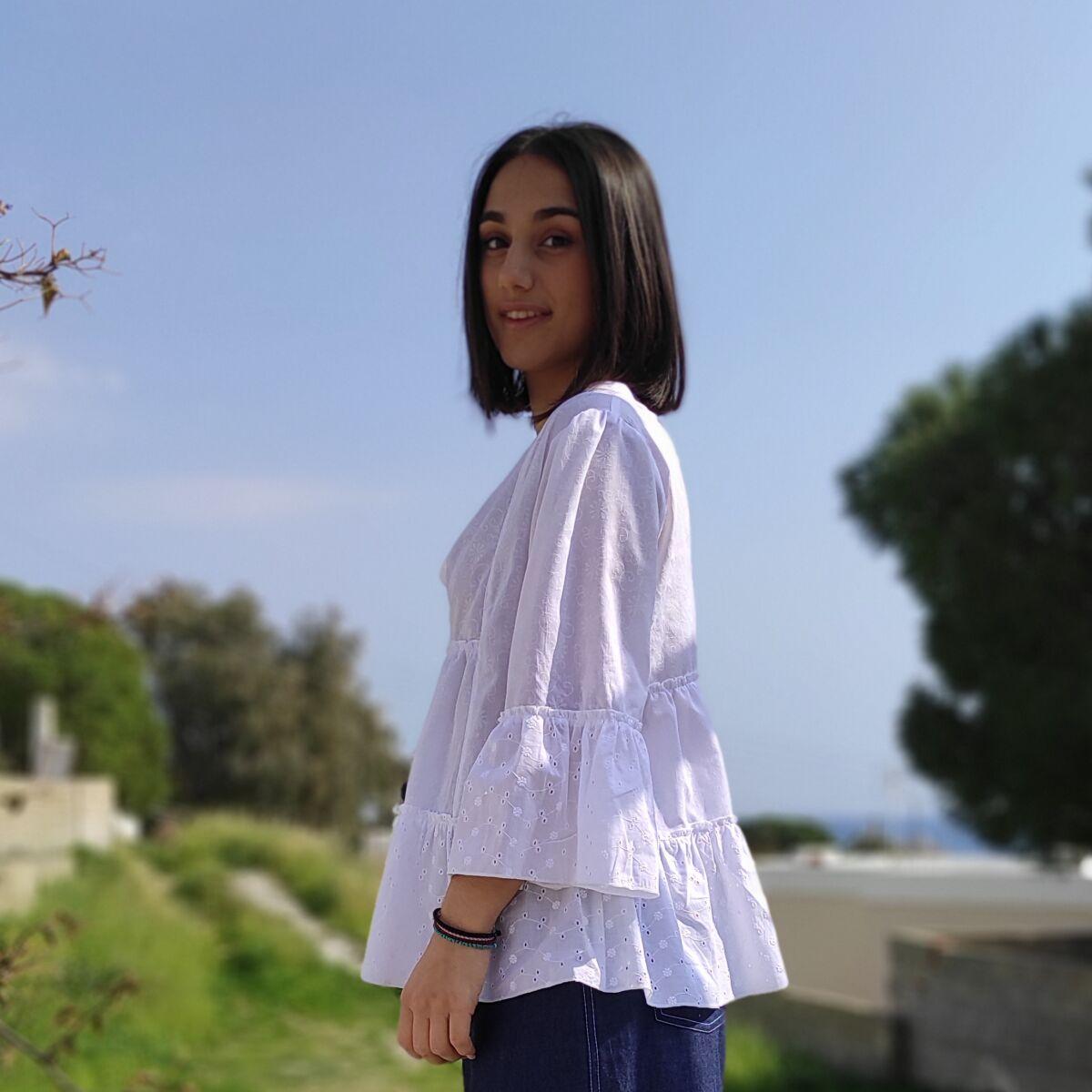 Μπλούζα λευκή κιπούρ Μπλούζες Ρούχα αξεσουάρ 2