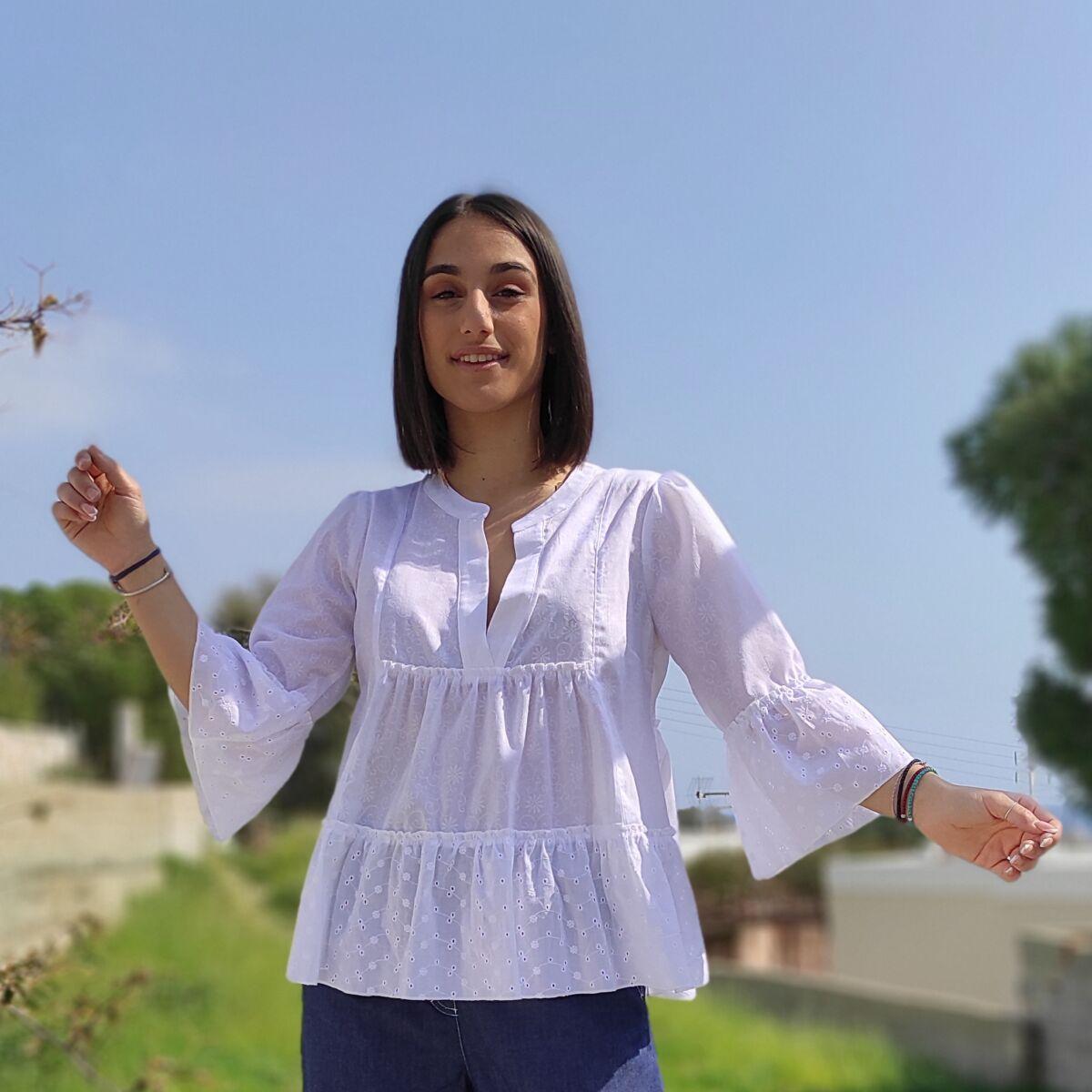Μπλούζα λευκή κιπούρ Μπλούζες Ρούχα αξεσουάρ