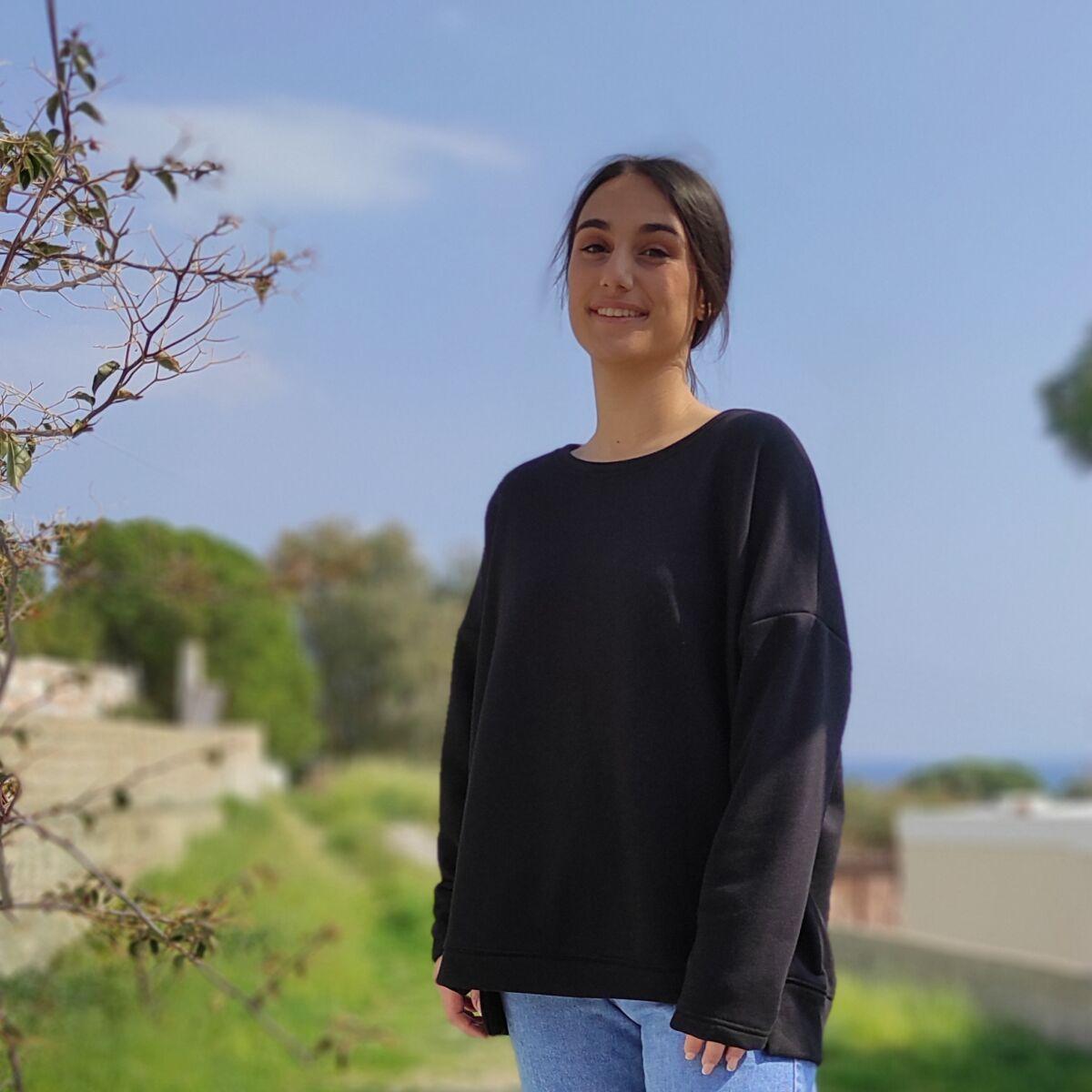 Φούτερ μαύρο ασύμμετρο Μπλούζες Ρούχα αξεσουάρ