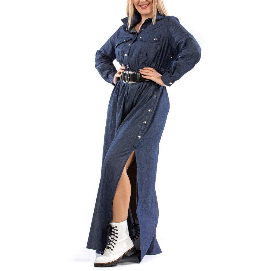 Τζιν πουκαμισοφόρεμα με σκίσιμο Φορέματα Plus Size Ρούχα αξεσουάρ