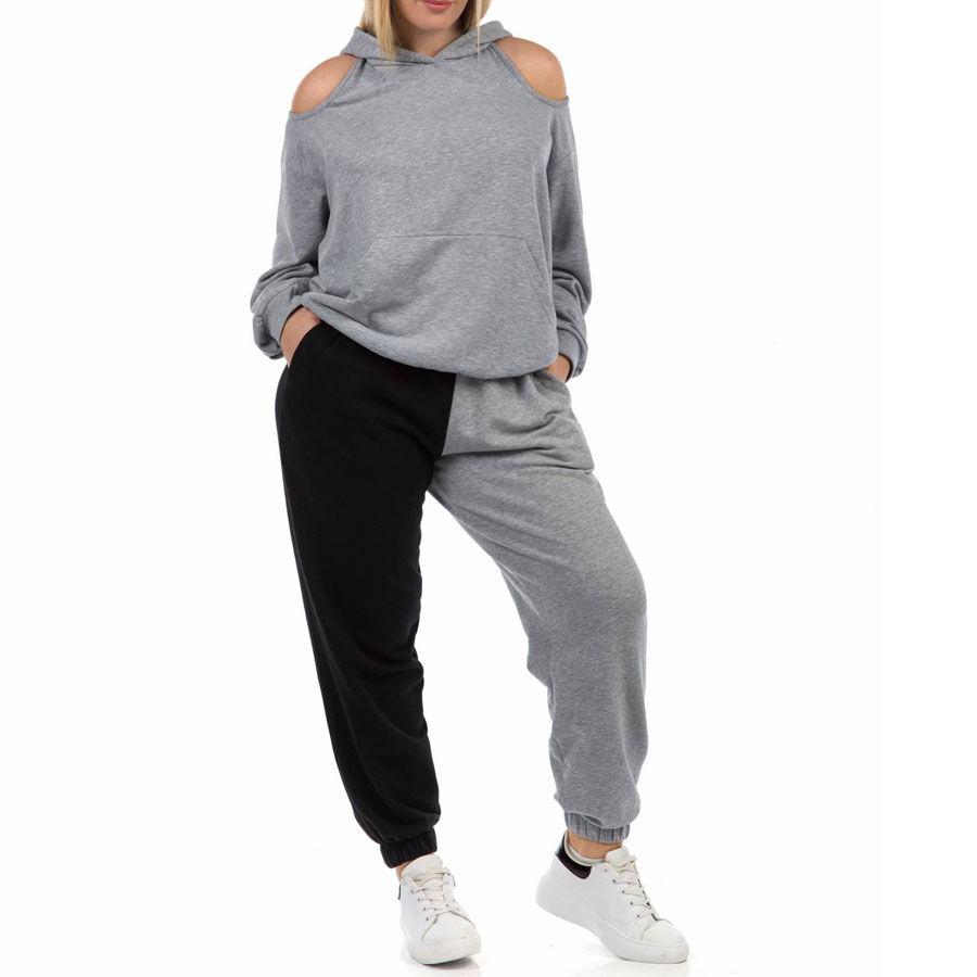 Παντελόνι φόρμας δίχρωμο Παντελόνια Plus Size Ρούχα αξεσουάρ