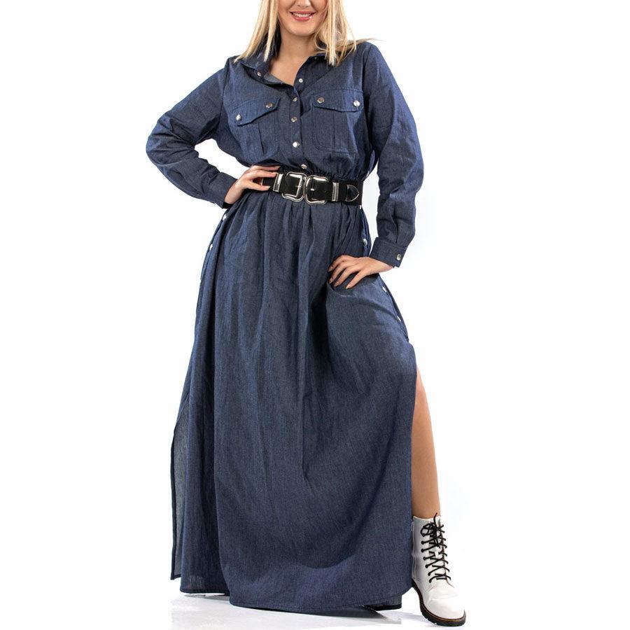Τζιν πουκαμισοφόρεμα με σκίσιμο Φορέματα Plus Size Ρούχα αξεσουάρ 2