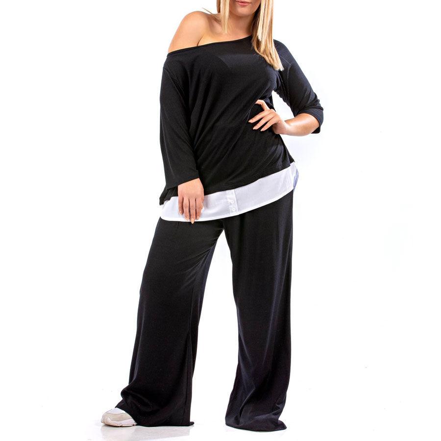 Καθημέρινο μαύρο ρίπ σετ Ρούχα Plus Size Ρούχα αξεσουάρ